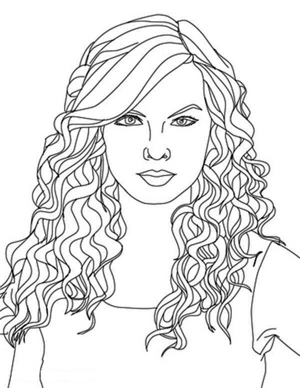 Taylor Swift Curly Hair Coloring Page Coloring Pages Kids Hair Color Super Coloring Pages