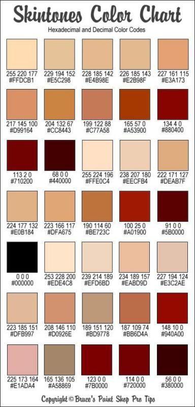 Photoshop Skin Color Code : photoshop, color, Skintones, Color, Chart, Palette,, Codes,, Colors