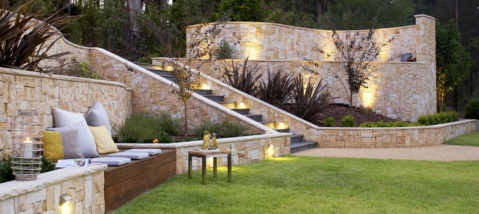 Backyard Garden Design This lower wall with wood bench seat