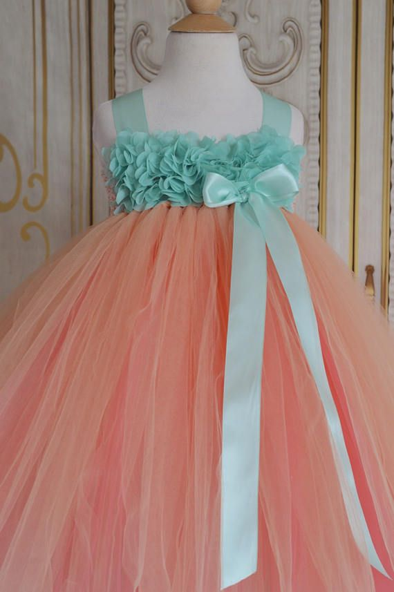 Peach Coral and Aqua chiffon hydrangea flower girl tutu