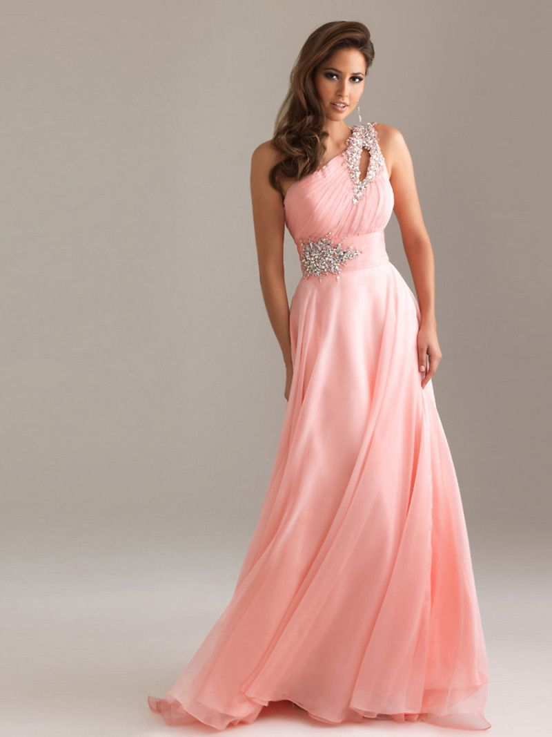 Elegant Astonishing One Shoulder Pearl Pink Chiffon Wedding Gown Dresses
