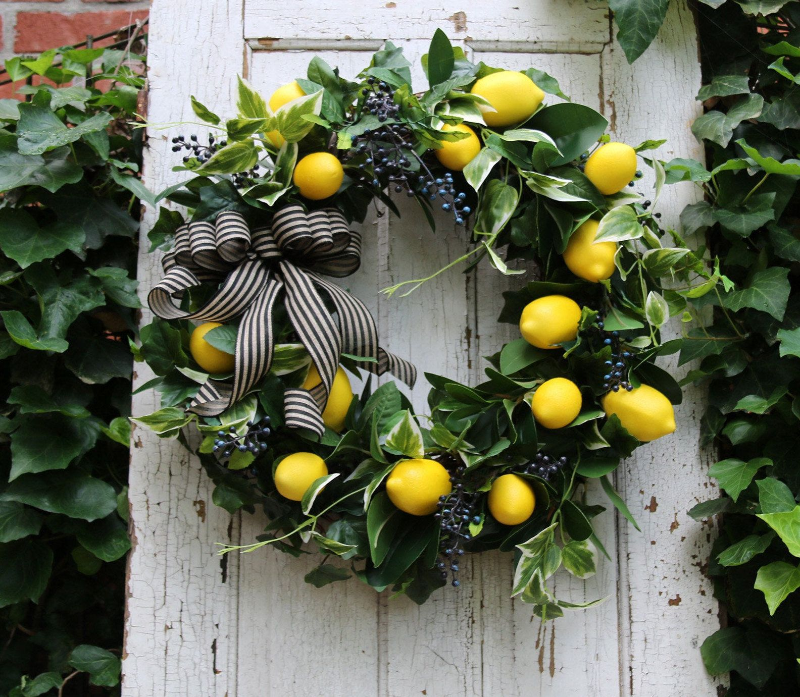 Lemon wreath for Front door, Farmhouse wreath, Lemon wreath, Year Round wreath, Rustic Farmhouse wre #doubledoorwreaths