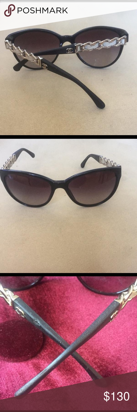 df0185fd87b27 CHANEL black silver chain   leather Cat Eye SunG. Chanel sunglasses with  leather wave. Leather temples. as is Frame scratches lens scratches none  that ...