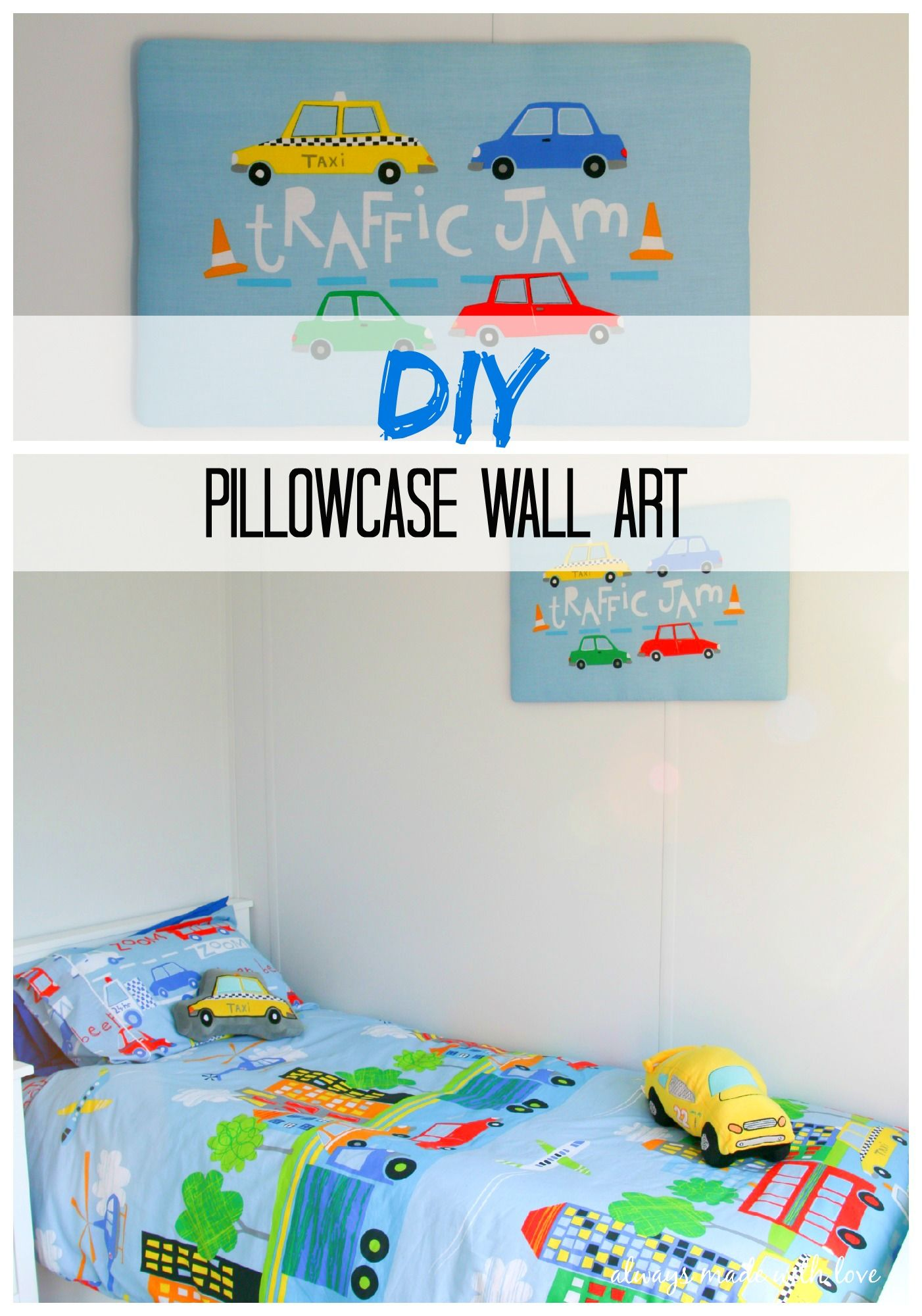 An easy DIY turning the humble pillowcase into a fabulous piece of custom Pillowcase Wall Art