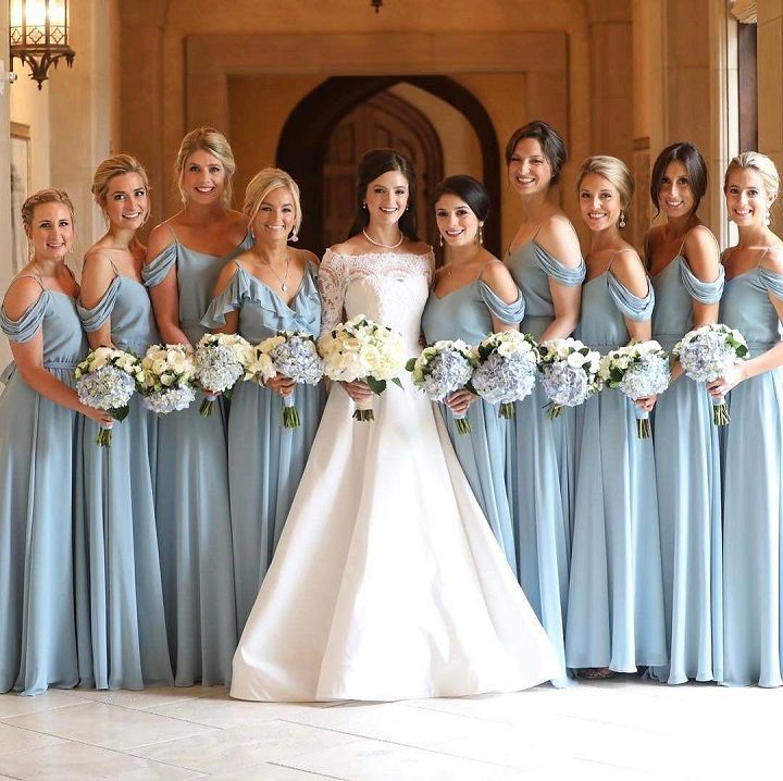 Beautiful shades of blue bridesmaid dresses #bridesmaiddresses #bridesmaids