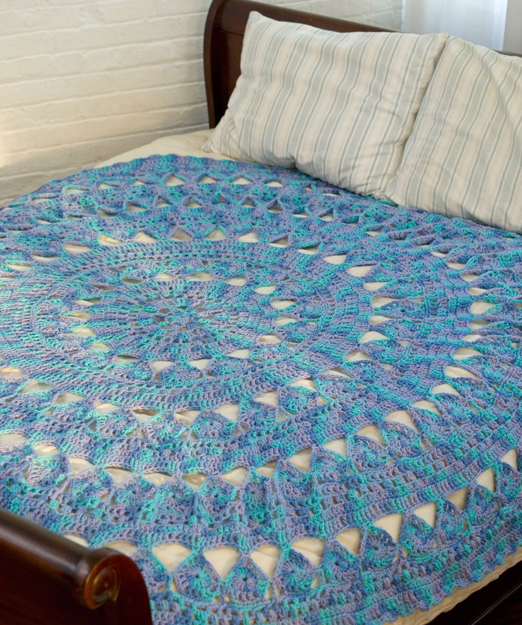 Knitting Pattern For Round Afghan : Medallion Circular Throw #crochet #SuperSaver #RedHeart ...