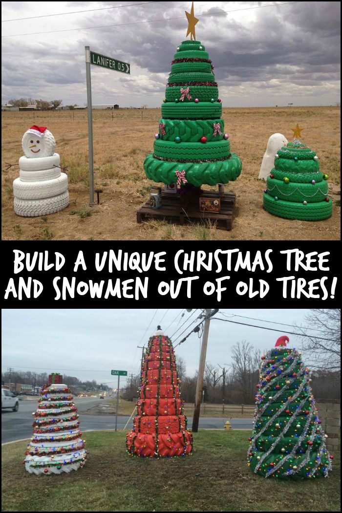 This Christmas Season Give Old Tires New Life by Turning Them Into Christmas Trees and Snowmen