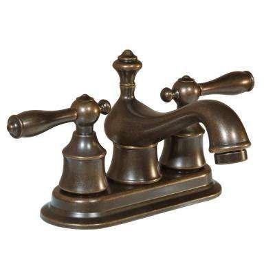 Estates 4 in. Centerset 2-Handle Low-Arc Bathroom Faucet with Pop-Up ...