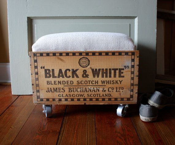 Tremendous Vintage Whiskey Crate Ottoman On Casters Storage Inzonedesignstudio Interior Chair Design Inzonedesignstudiocom