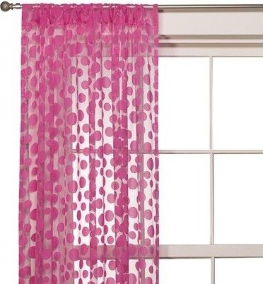 Hot Pink Sheer Flocked Dot Window Curtain Interer Stil Boho