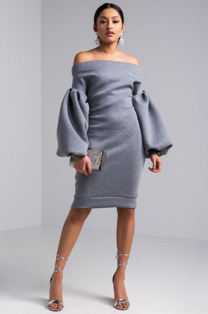 e2dc8989bf0 AKIRA Off Shoulder Bishop Sleeve Scuba Dress in Grey
