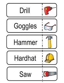 Preschool printables building speech therapy for Construction vocabulary