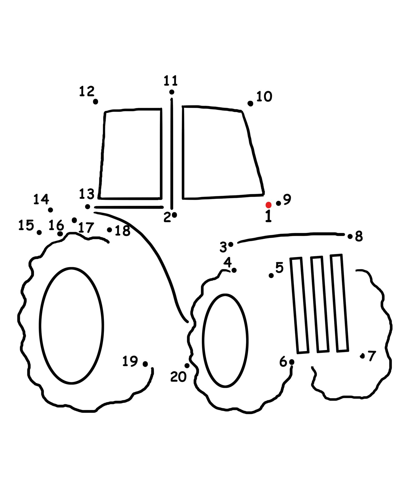 Connect the dots Tractor – Math Dot to Dot Worksheets