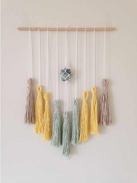 Tassel Wall Hanger - Green & Yellow
