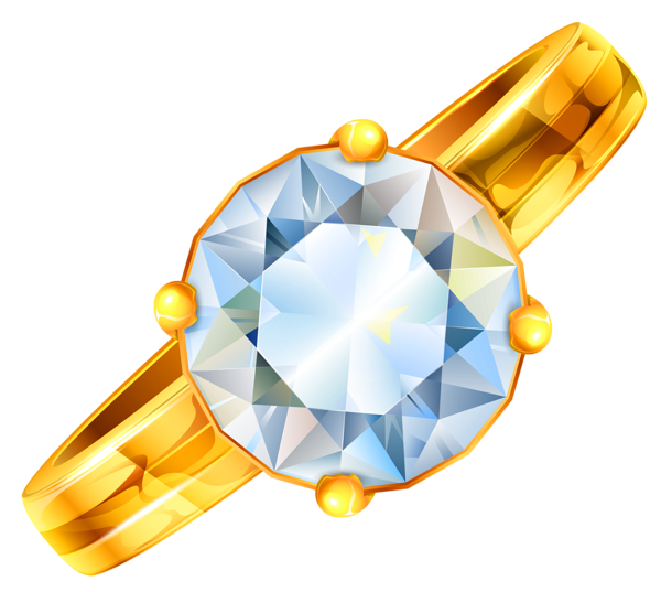 Gold Ring with Diamond PNG Clipart
