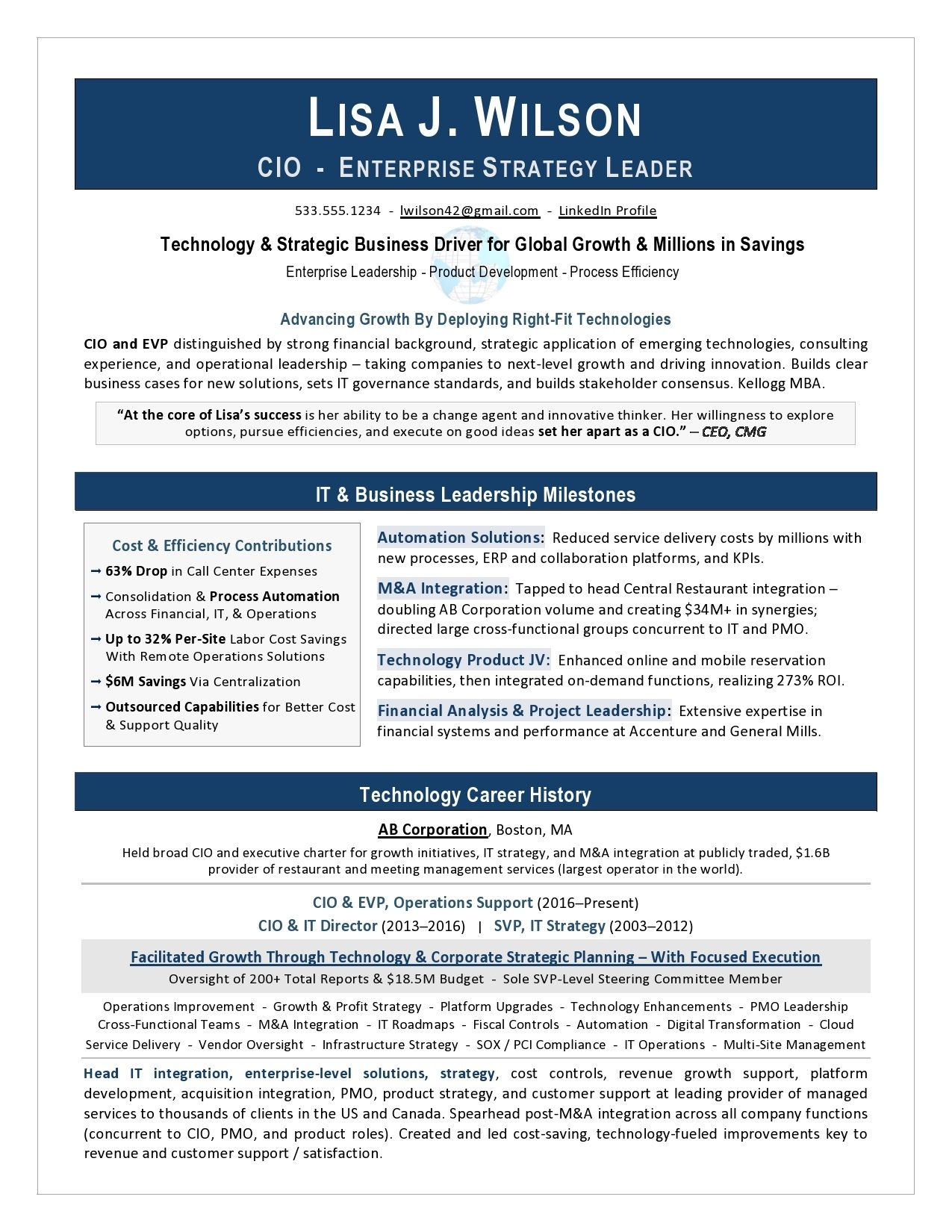 It Director Ceo Resume Sample Page 1 Job Resume Examples Resume Examples Good Resume Examples