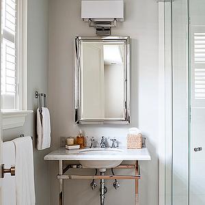 Jennifer Worts Design - bathrooms - chrome washstand, polished chrome washstand, corner shower, corner shower ideas, framed medicine cabinet, mosaic tile, mosaic tile floor, mosaic tiled bathroom floor, mosaic tile bathroom,