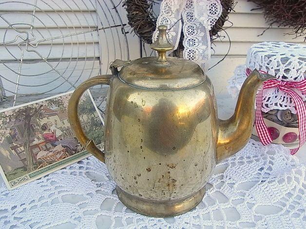 Vintage Gießkannen - shabby chic Gießkanne alte Teekanne Messing Vase - ein Designerstück von artdecoundso bei DaWanda