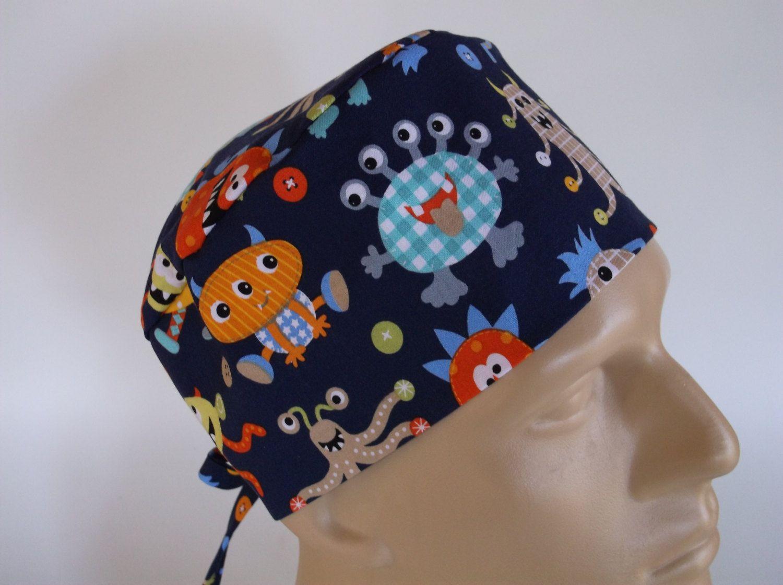 Monster Mash - Men s Surgical Scrub Hat with sweatband option e549a9d9d6e4