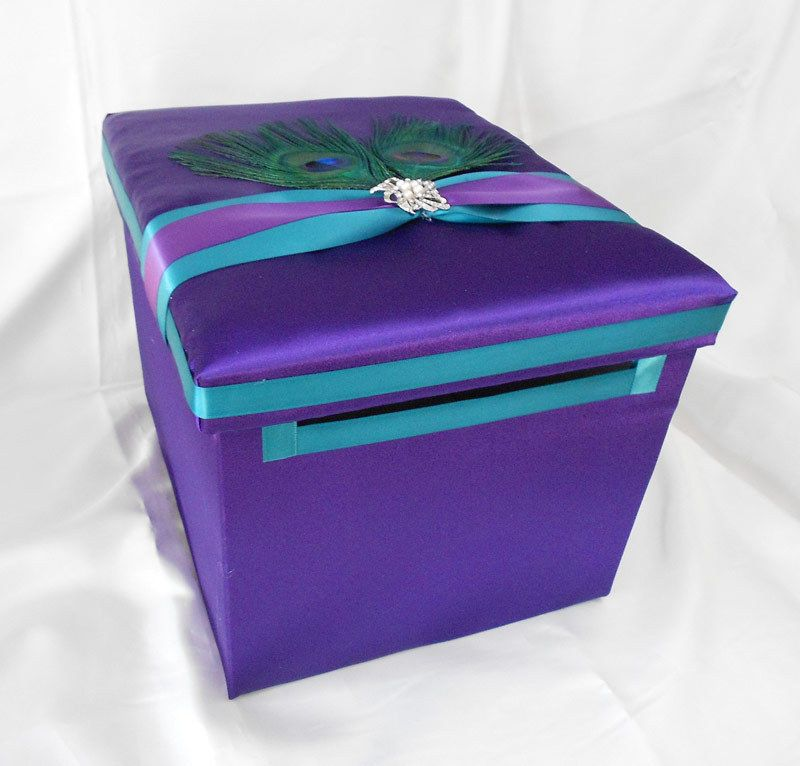 Average Cost Of Wedding Gift: Wedding Reception Peacock Feather Purple Turquoise Gift