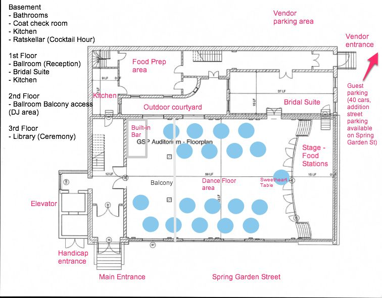 wedding floor plan - furniture not to scale, caterer is providing