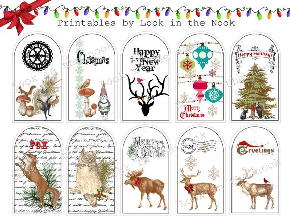 Christmas Printable Hang Tags Vintage Woodland By Lookinthenook