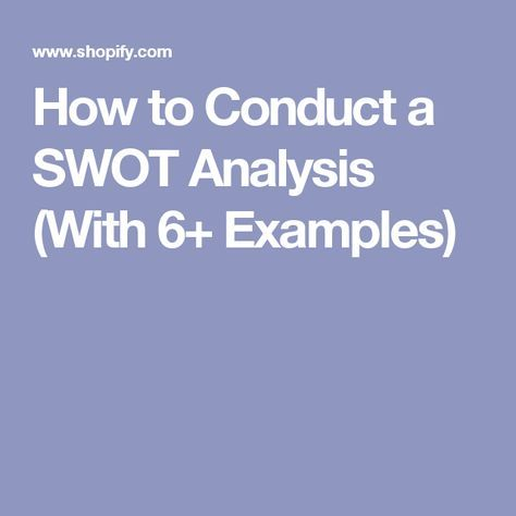 How To Conduct A Swot Analysis With  Examples  Shopify  Swot
