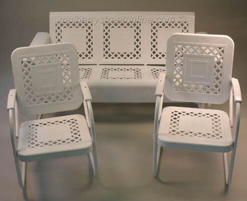 Retro metal furniture for the front porch.