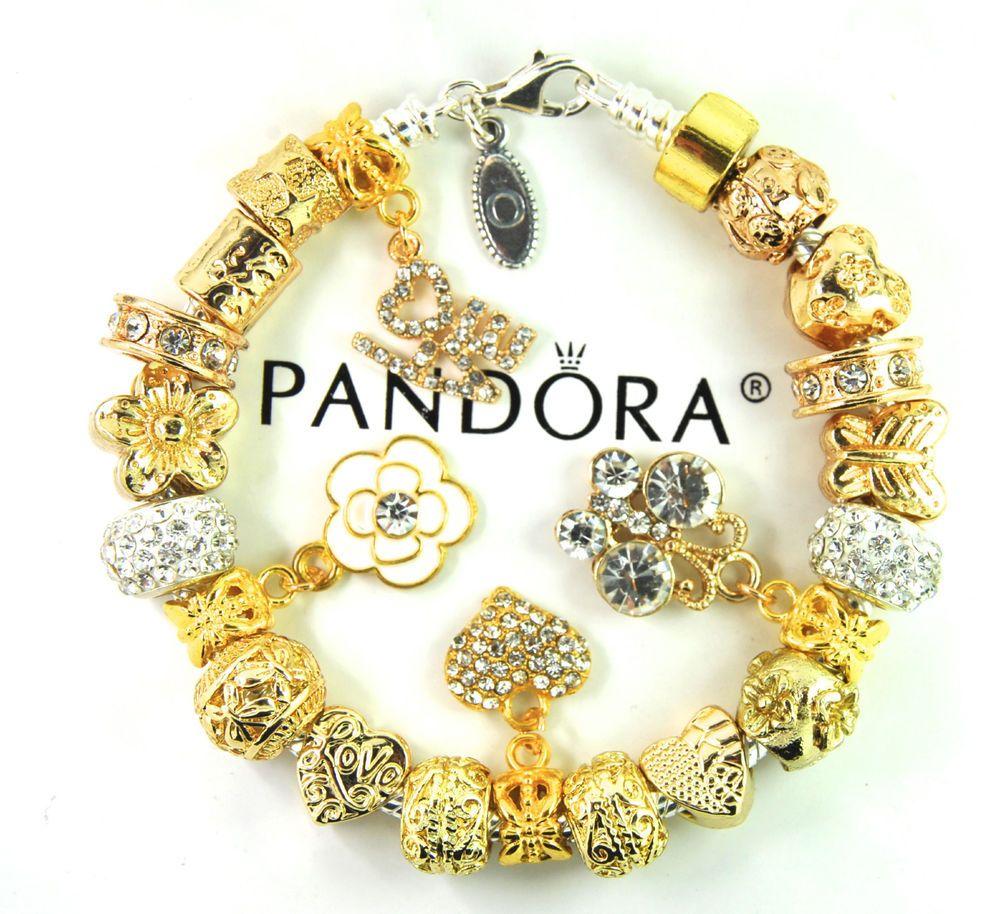 Authentic Pandora Silver Charm Bracelet with European Charms Gold love gift #Pandoralobsterclaspclaw #European