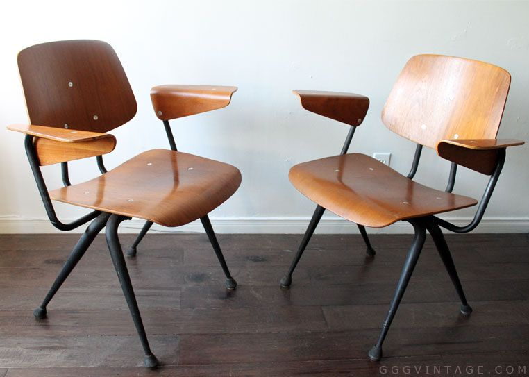 Marvelous MID CENTURY MODERN PAIR OF BRUNSWICK BENTWOOD PLYWOOD ARM CHAIRS WITH IRON  FRAMES   SOLD