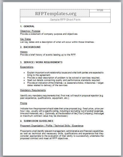 Our sample of a short form RFP template which you can use for your - sample service level agreement