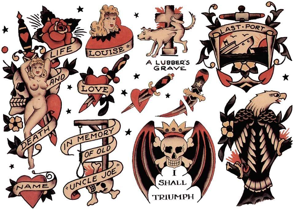 Sailor Jerry Dog Love Tattoo Art Print//Poster