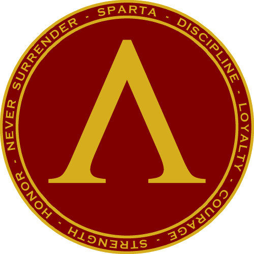 Features The Lamda The Symbol Shown On Spartan Shields Surrounded By Circular Text Describing Spartan Virtues On The Back Spartan Tattoo Sparta Sparta Shield