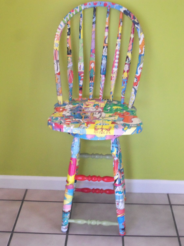 Pleasing The Cutest Chair Ever Custom Dr Seuss Decoupaged Wood Frankydiablos Diy Chair Ideas Frankydiabloscom