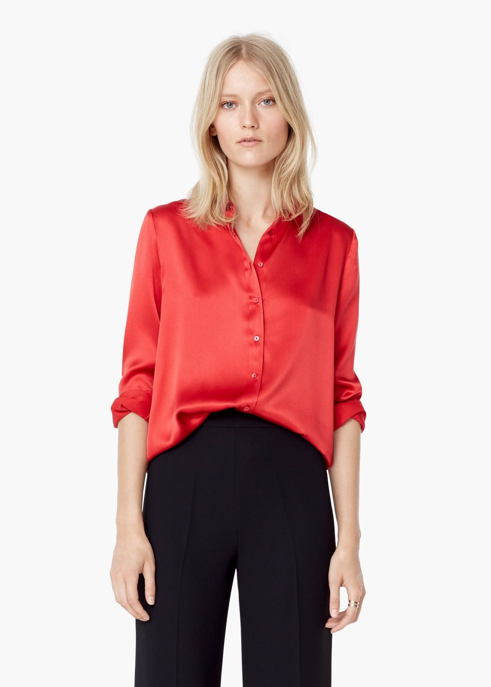 Satijnen blouse - Overhemden voor Dames | MANGO
