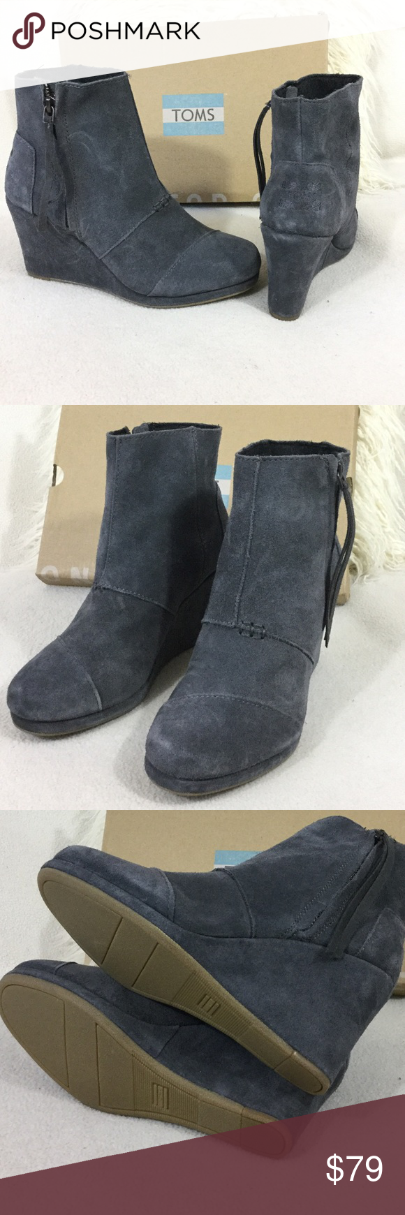 6632d55eb53e TOMS BRAND NEW grey suede wedge ankle boot TOMS BRAND NEW grey suede wedge  ankle boot