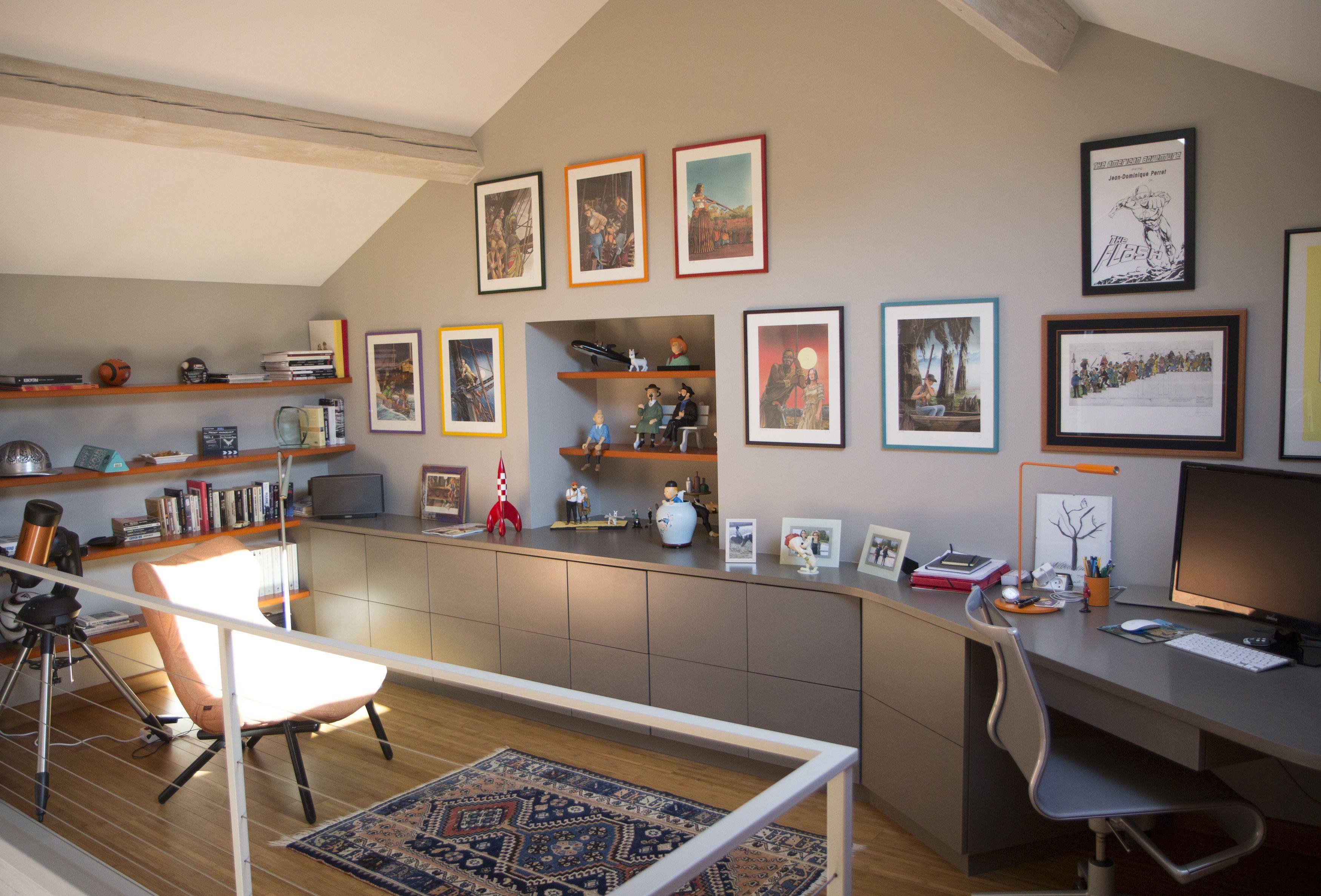 Renovation Mezzanine Maison De Campagne Espace Bureau Bd Meuble Sur Mesure Valchromat Gris Poutre Sous Pente Maison Maison De Campagne Mobilier De Salon