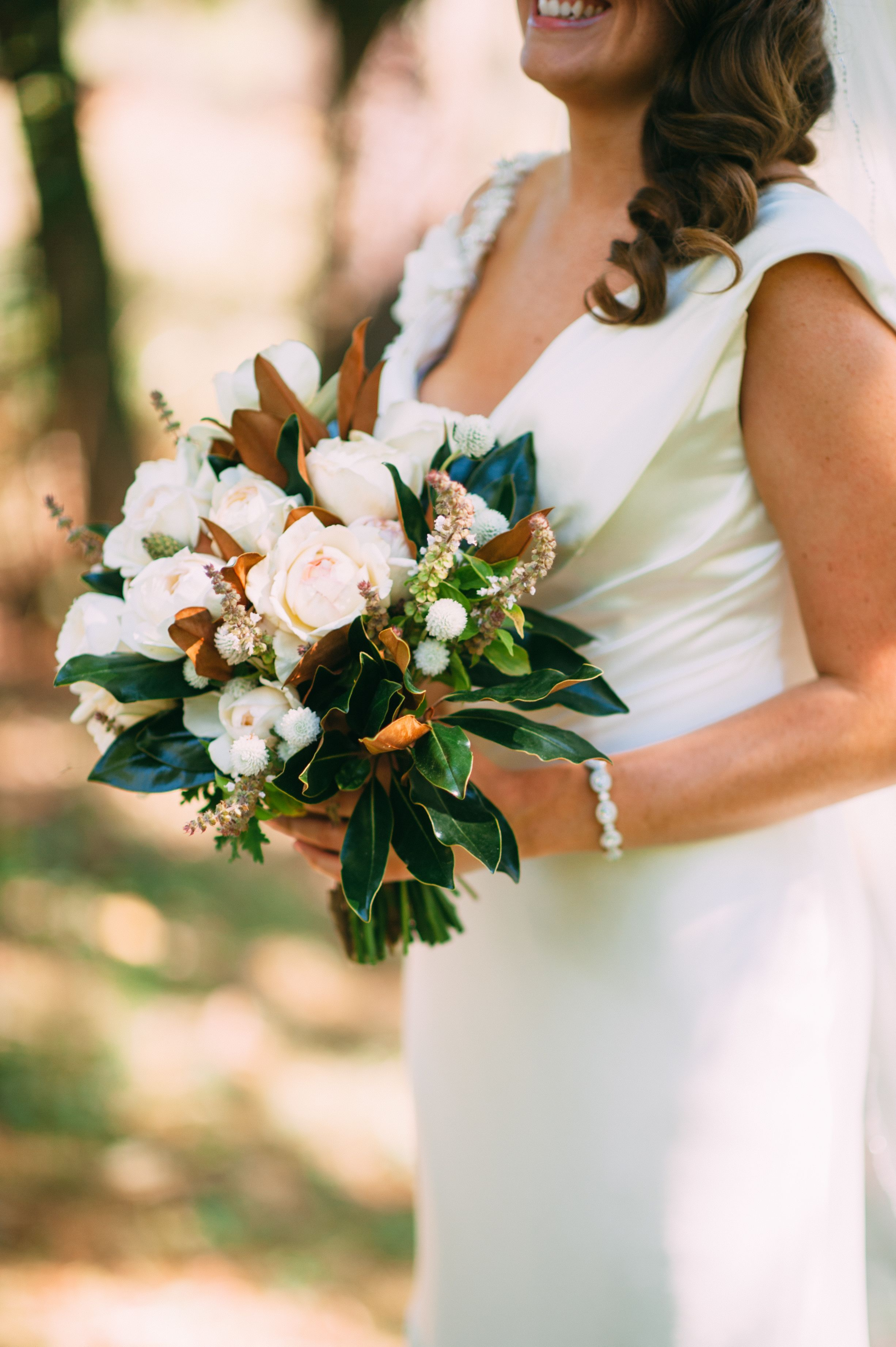 Bouquet With Blush And Ivory Roses White Dahlias And Magnolia
