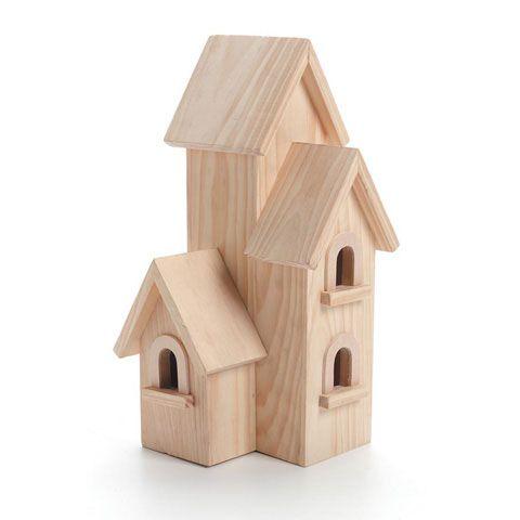Wood Birdhouse - Natural - Manhattan - 12 inches