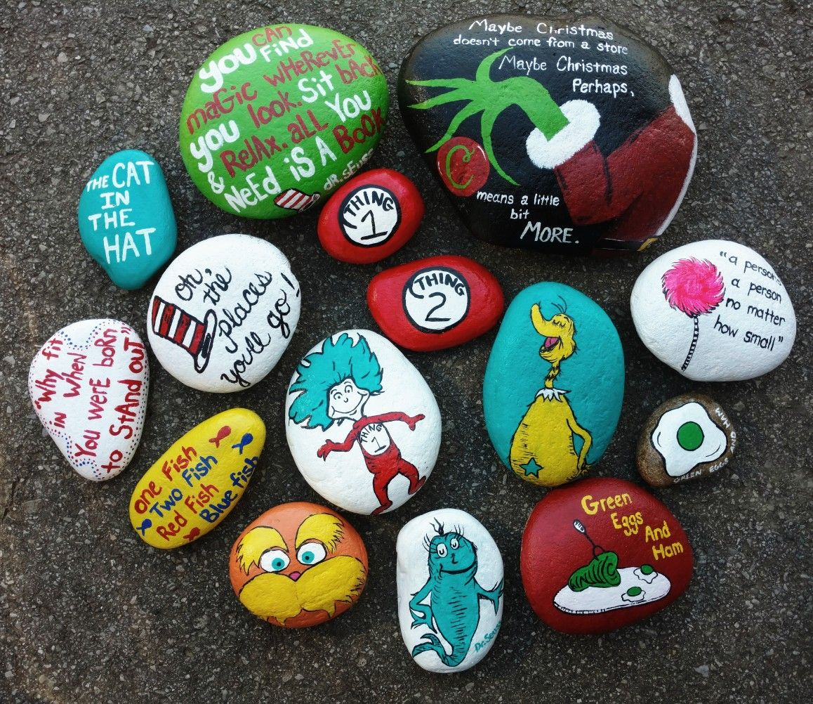 Dr Seuss Painted Rocks Painted Rocks Kids Rock Crafts Painted Rocks