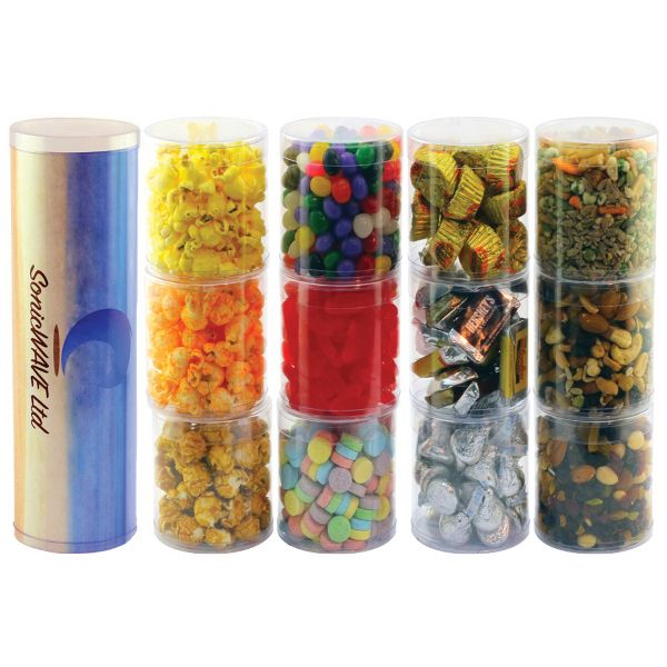 Three Tube Stack With Candy These Three Tubes Are Filled With Assorted Jelly Beans Swedish Fish And Sweet Tarts The 4 Color Process Insert Provides A
