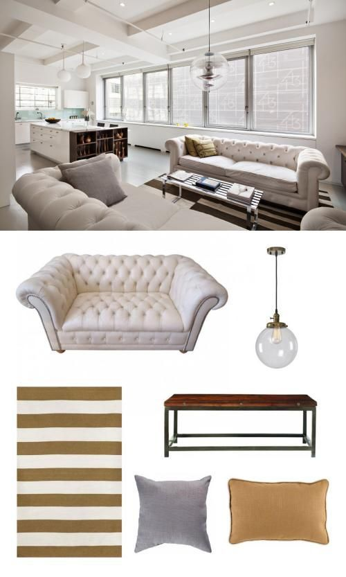 A cool pendant and some beige sofas mesh evenly with a striped coffee table and rug. #livingroom