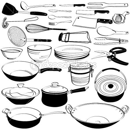 Kitchen Tool Utensil Equipment Doodle Drawing Sketch by leremy