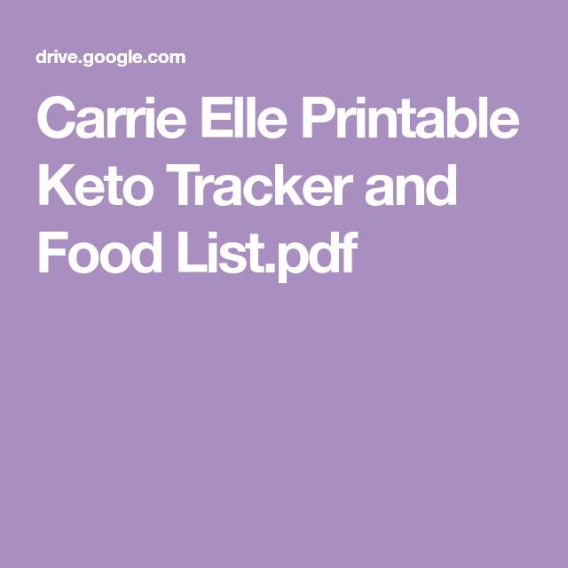 Carrie Elle Printable Keto Tracker And Food List Pdf Foooooooooood