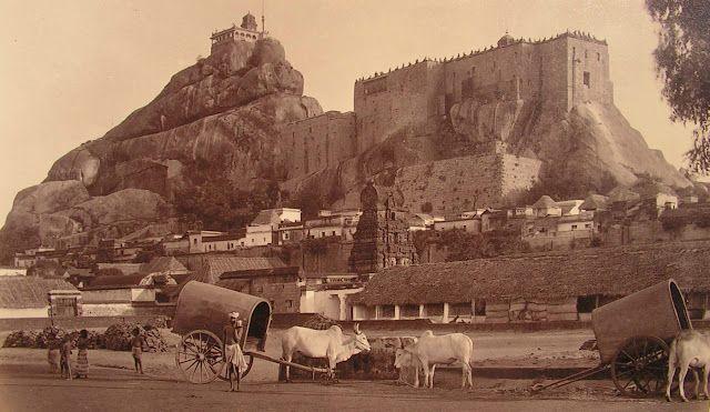 Rock+Fort+Temple+in+Tiruchirapalli,+Tamil+Nadu+-+c1880's