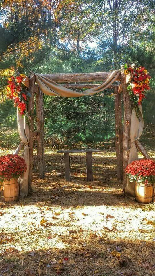 Cedar Arbor Decorated With Fall Flowers And Burlap In 2019 Fall Wedding Arches Wedding Arch