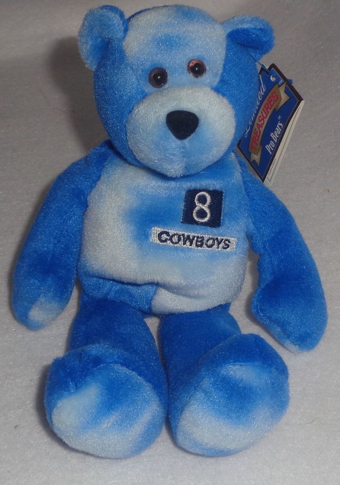 Troy Aikman Limited Treasures Pro Bears Blue Dallas Cowboys  8 NFL Beanie  Baby 050370184