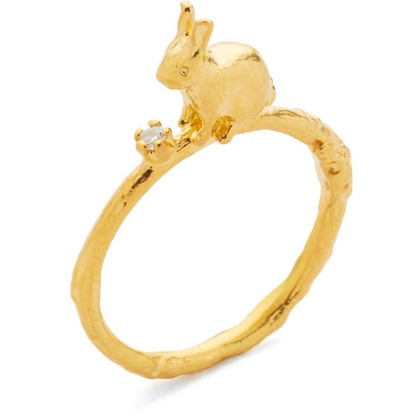 Alex Monroe Sitting Bunny Ring with Set Diamond (£150) ❤ liked on Polyvore featuring jewelry, rings, alex monroe, alex monroe jewelry, diamond jewellery, sparkle jewelry and diamond rings