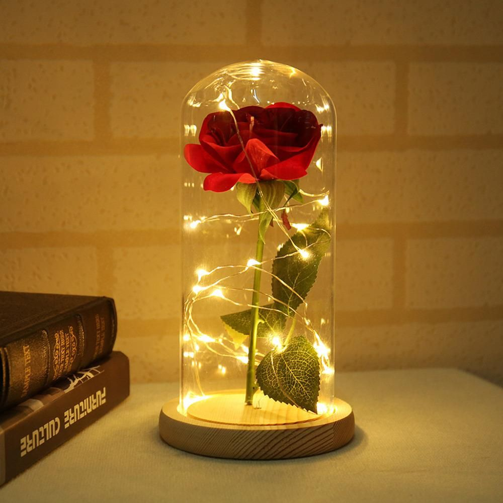 Glass Roses Flowers Beauty And The Beast Red Rose In A Glass Dome On A Wooden Base For Valentine S Gifts Eternal F Flower Lamp Led Lights Wedding Flower Lights