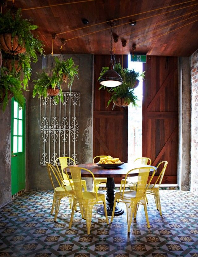 These Zinc Yellow Chairs Just Pop Against The Muted Tile Work. The Grounds,  Alexandria. Interior Design By Caroline Choker